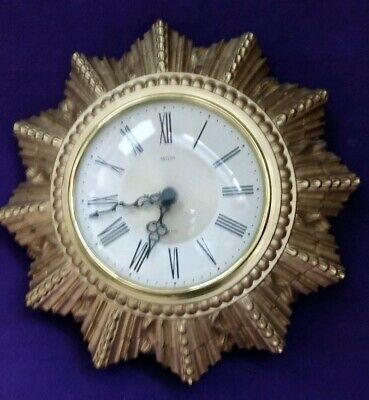 Vintage Smiths Golden Sun Starburst 8 Day Floating Balance Plaster Wall Clock