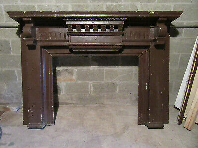 ~ Antique Carved Walnut Fireplace Mantel ~ 42 Opening ~ Architectural Salvage