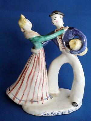 Antique Tin Glaze Faience Majolica Pottery Figure Sailors Farewell