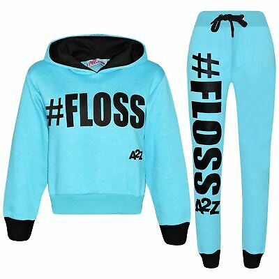 Kids Girls Tracksuit Designer #Floss Hooded Crop Top Bottom Jog Suit 5-13 Years