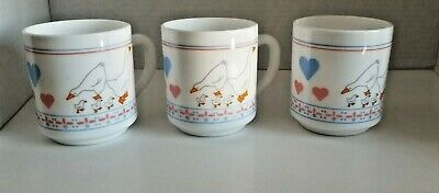 Vintage Arcopal France White Milk Glass Coffee 3 Tea Mug Features Geese