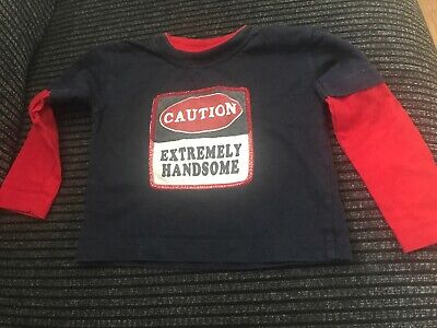 Baby Boys Primark Blue And Red Long Sleeved Top Age 6-12 Months