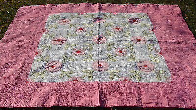 """1930s ROSE OF SHARON applique all hand quilted quilt, 78"""" x 64""""  *"""