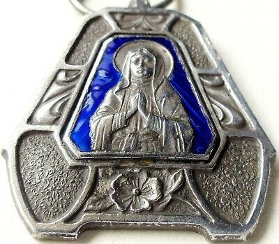 Gorgeous Wild Rose Decor & Blue Enamel Antique Medal Pendant To Holy Virgin Mary
