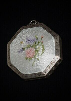BEAUTIFUL Antique **STERLING** & Hand Painted *ENAMEL GUILLOCHE* Floral COMPACT