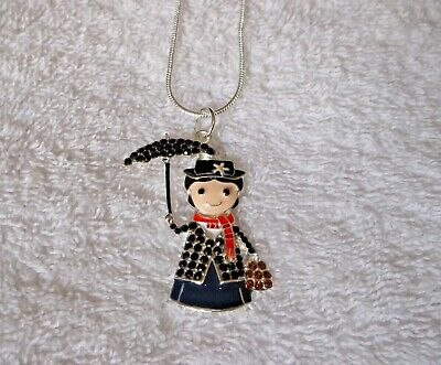 MARY POPPINS Inspired Large Charm Unwanted NECKLACE + Rhinestones & Gift Bag