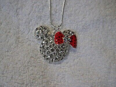 MINNIE MOUSE EARS Unwanted Sparkly Large Charm NECKLACE Rhinestone Disney Gift