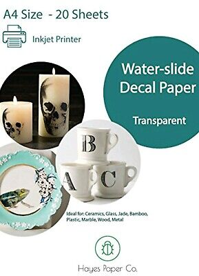 Hayes Paper Co. Water-Slide Decal Paper Transparent. Inkjet A4 x20. New & Sealed