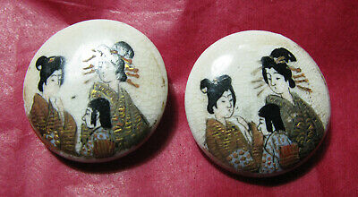 Pair Of Large Antique Satsuma Buttons Of Geishas Vgc 23Mm