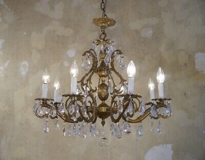brass crystal chandelier fixtures ceiling lamp 8 light lustre used old vintage
