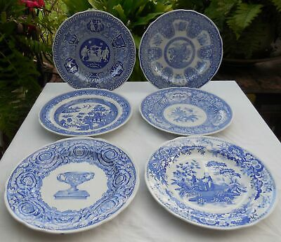 Blue & White Spode Blue Room Collection Plates x 6