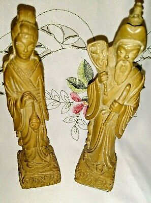 Vintage Pair Oriental Male & Female  Figurines poss. Carved Soapstone