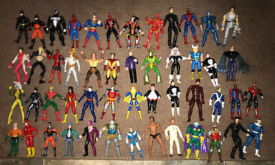 Lot Of 50 Dc Comics & Marvel Super Hero's & More Poseable Action Figures