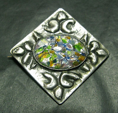 Stunning Large Pewter Art & Crafts / Nouveau Brooch With Glass Stone