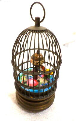 "Great Animated Bird Carved Brass Bird Cage Clock--Mechanical Wind, 6 1/2"" Tall"