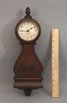 Antique Miniature Seth Thomas 4 Jewel 8 Day Mahogany Lyre Wall Clock, NR