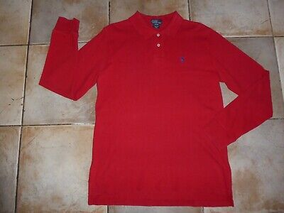 "Older Boys / Small Mens RALPH LAUREN Long Sleeve Red Polo Neck Top (Chest 38"")"
