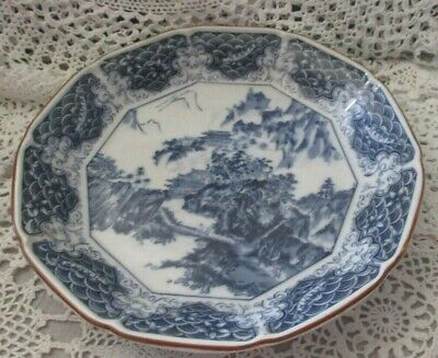 Vintage Blue and White Asian Oriental Design Bowl 9 in W