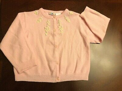 Vintage Gymboree Girl's Pink Embroidered Cardigan Sweater, 24 months