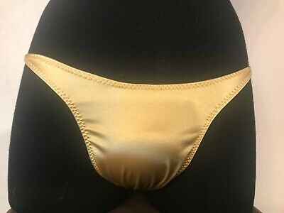 mens flex gold satin spandex Competition posing Trunks Posing Suit-FREE SHIP