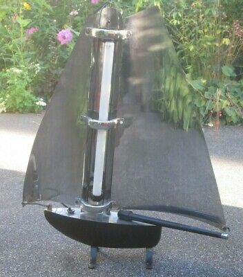 "Art Deco Sailboat Chrome & Black - 29"" Tall, Was a Decorative Heater, 1930s Lamp"