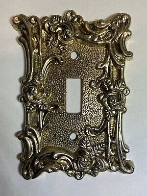 Two Antique 1967 Gold Color Metal Switchplates, American Tack & Howe Co