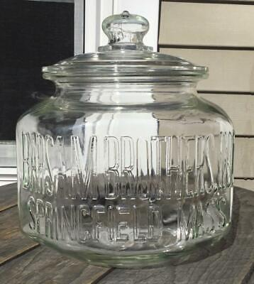 RARE Antique Barsam Brothers Glass Store Counter Display Octagon Jar/Lid Mass.