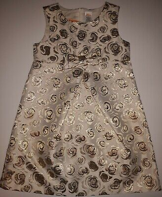 New Gymboree Girls Gold Metallic Ivory Floral Holiday Dress Portrait Party 7