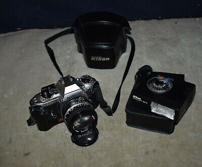 BEAUTIFUL! NIKON FG 35mm FILM CAMERA W/ NIKON NIKKOR LENS 1:1.4 50mm - BUNDLE