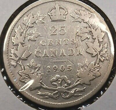 1905 Canada 25 Cents silver coin