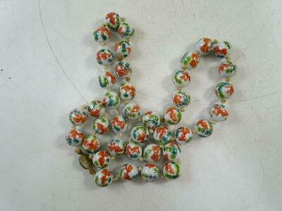 Antique Chinese Porcelain Bead Canton Strand Necklace China Knotted Silver Vtg