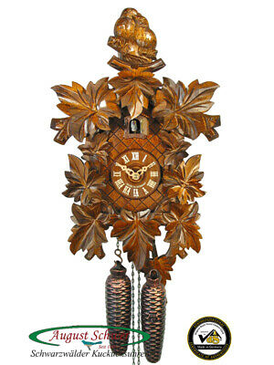 Cuckoo Clock Authentic Black Forest Eight Leaves and Pair of Birds August Schwer