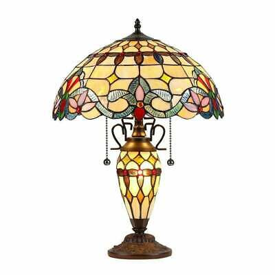 Tiffany Style Victorian Design Dark Bronze Finish Stained Glass Table Lamp
