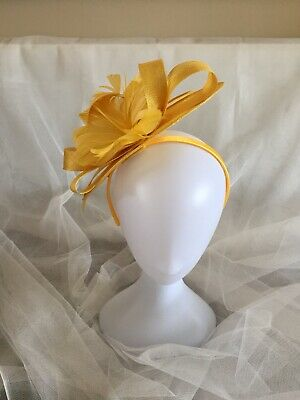 New Ladies Golden Yellow Sinamay And Feather Special Occasion Fascinator