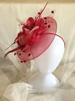 Deep Red Coloured Netting And Silk Feather Fascinator For All Special Occasions