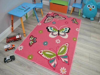 Girls Boys Rug Mat Pink Butterfly Animal Non Slip Large Small Bright Bedroom UK