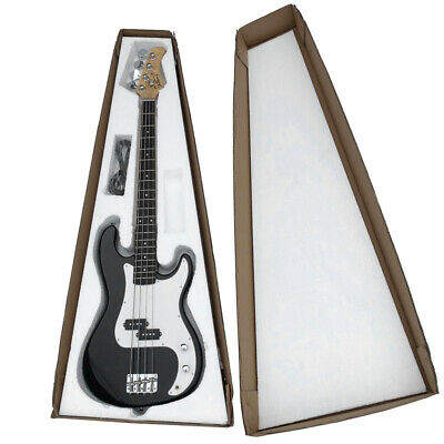 Acoustic Electric Bass Guitar Cutaway Design With Guitar Case, Strap Black New