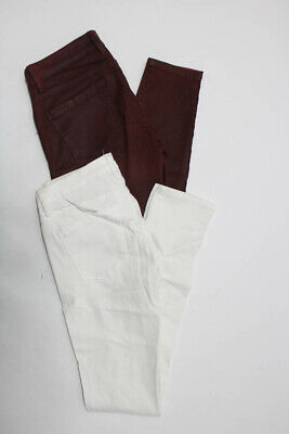 Blank NYC Womens Distressed Mid Rise Skinny Jeans Red White Size 27 28 Lot 2