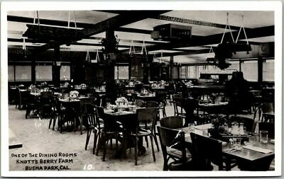 """1940s KNOTT'S BERRY FARM Calif. RPPC Photo Postcard """"One of the Dining Rooms"""""""