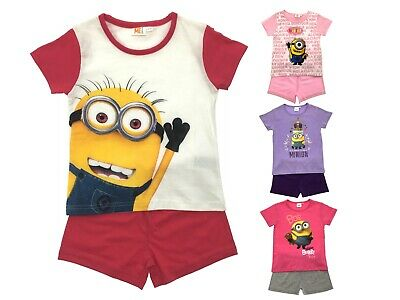Girls Minions Pyjamas From Despicable Me Short Pjs 2 Piece Pyjama Set Kids Size