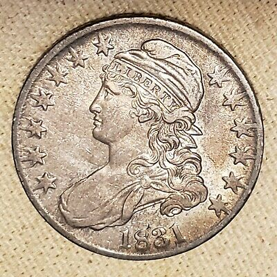 1831 Capped Bust Silver Half Dollar AU Lettered Edge $.50C classic us coin 90%