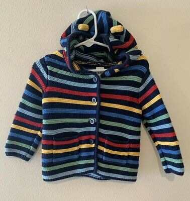 Baby Boy 12-18 Month Baby Gap Multicolor Striped Knit Bear Hooded Cardigan
