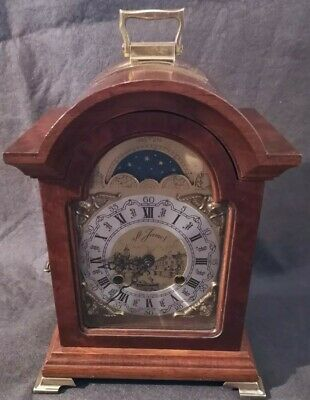 Antique Style Franz Hermle & Sons Burr Walnut moon phase chiming mantle clock