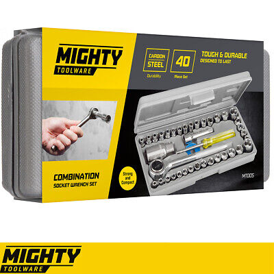 """Mighty Tools 40pc Professional Socket Driver Set 1/4"""" & 3/8"""" metric imperial"""