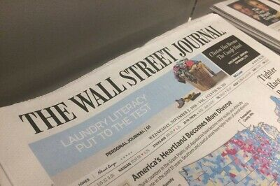 Wall Street Journal 1-YEAR SUBSCRIPTION - PRINT EDITION-Starts Within 10 days!