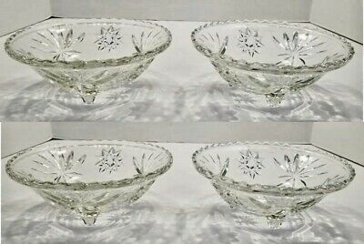 (4) Anchor Hocking Star Of David Clear Glass Footed Candy Dish Nut Dishes - EUC
