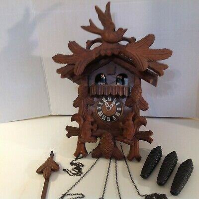 Coo Coo Cuckoo Clock German Black Forest Carved 12 inch Musical Clock Dancers