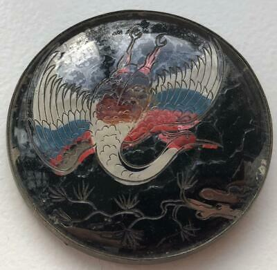 Unusual Art Deco Chinese? Etched Glass & Enamel Large Bird Brooch