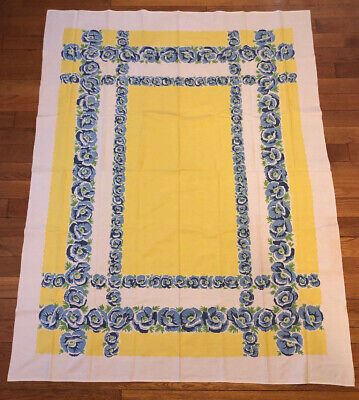 Vintage Blue White Yellow Flowers Rectangle Tablecloth Linen Mid Century MCM