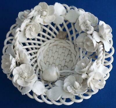 Antique Derby Porcelain 19C Strawberry Basket Flower Encrusted
